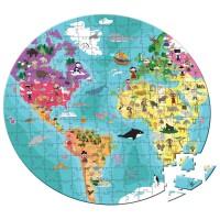 Maleta puzzle 208 piezas niños y animales del mundo Janod