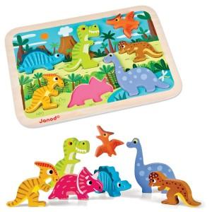 Puzzle encaixável dinossaurios chunky Janod
