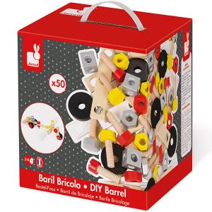 Jogos de construção - Barril bricolo redmaster 50 peças Janod